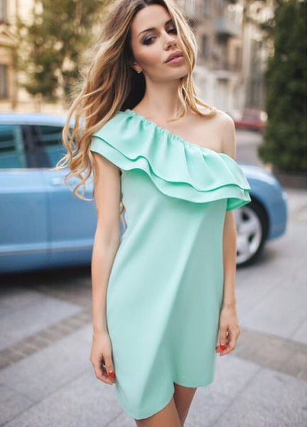 Mint Strapless Off Shoulder Ruffle Mini Dress