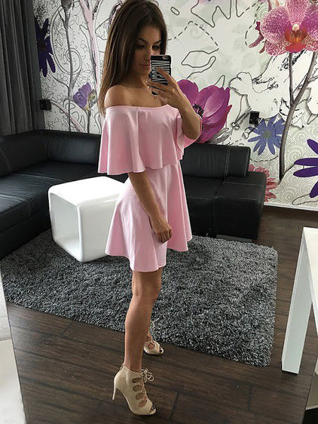 ☆ Pink Strapless Casual Off Shoulder Mini Dresses ☆