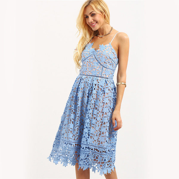 Hollow Out Fit & Flare Lace Cami Dress