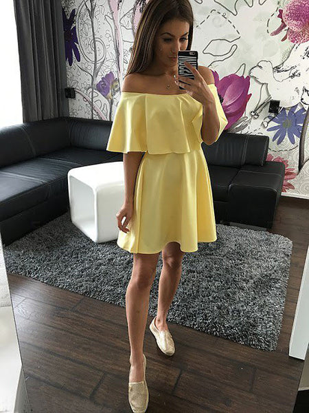 Yellow Strapless Casual Off Shoulder Mini Dress