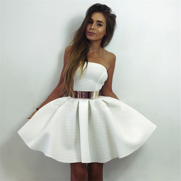 ✿ Strapless Princess White Ball Gown Dress ✿