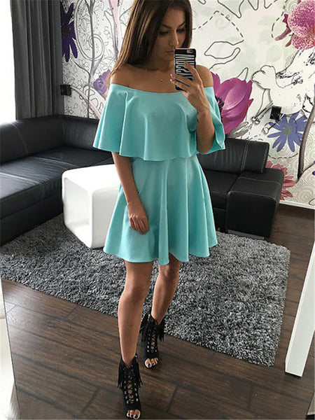 ☆ Mint Strapless Casual  Off Shoulder Mini Dress ☆