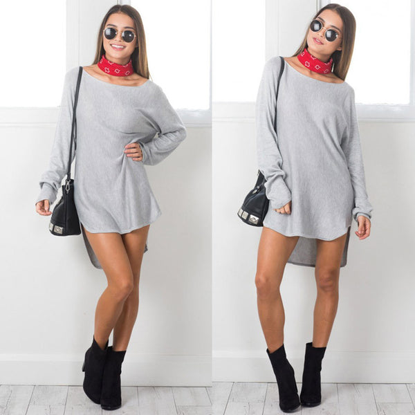 ✿ Casual Full Sleeve T-Shirts Long Top Loose Dress ✿