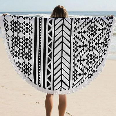 Hippie Round Tapestry Black and White Tapestries Throw Towel Wall Art