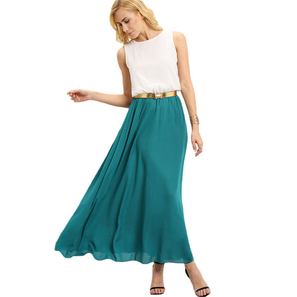 ☆ Color-block Chiffon Summer Teal Maxi Dress