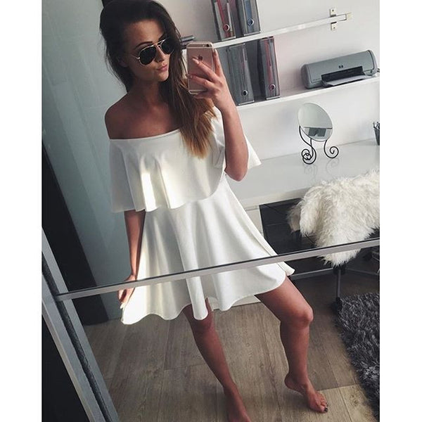 ☆ White Strapless Casual Sweet & Cute Off Shoulder Mini Dress ☆