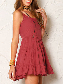 Cute Red Ruffle Dress Backless with Spaghetti Straps