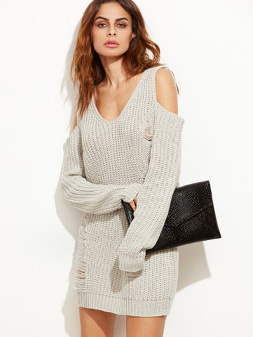 Ripped Sweater Dress with Trendy Cold Shoulder