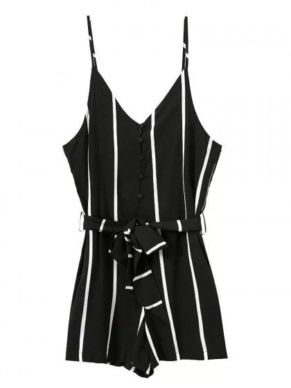 Striped Black Romper V Neck Playsuit