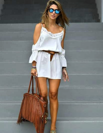 Romper White Cold Shoulder Lace Playsuit