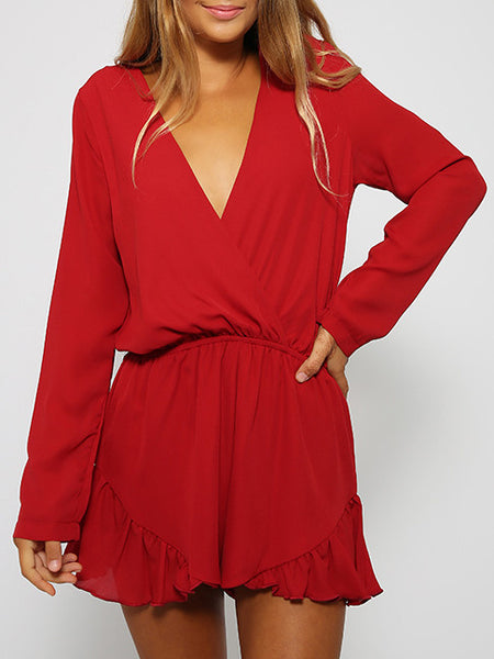 Red Romper Deep V Neck Ruffle Playsuit
