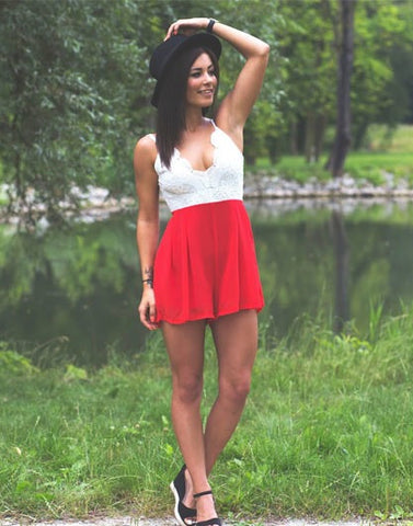 Red Lace Romper