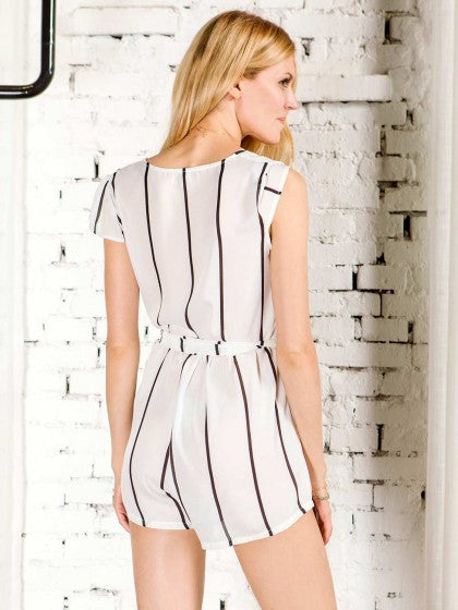 Striped Romper V Neck Spaghetti Strap Playsuit