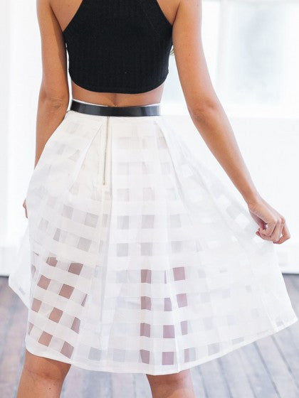 Checkered Sheer High Waist Skirt