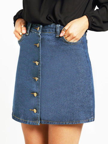 Denim Skirt Button Up High Waisted Skirt