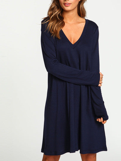 0feea8a029e Casual Navy Blue V Neck Long Sleeve Shift Dress – Lyfie