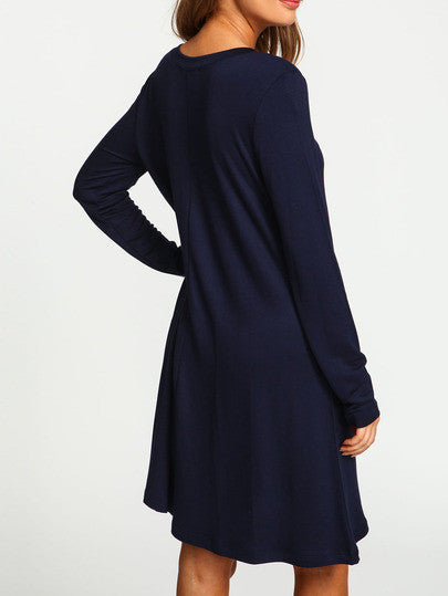 27ccb25a312 Casual Navy Blue V Neck Long Sleeve Shift Dress – Lyfie