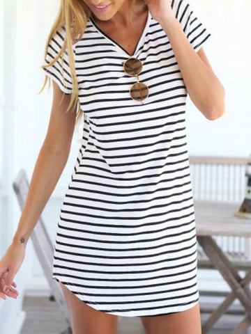 Short Sleeve Striped Summer Dress