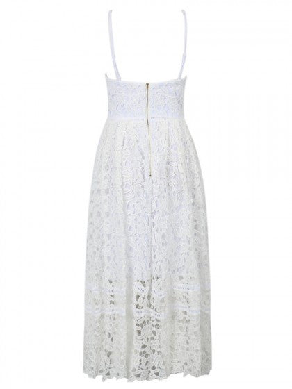 White Summer Crochet Dress Full Length