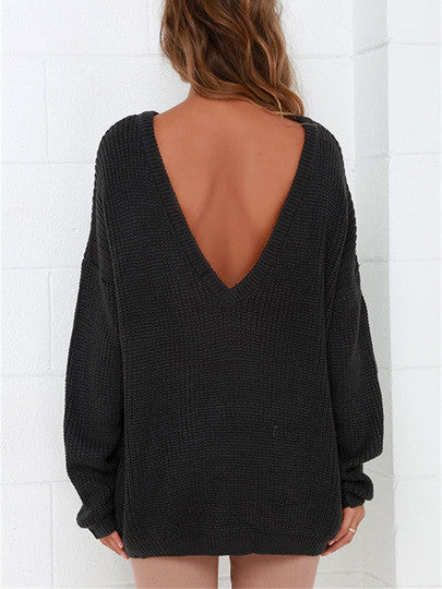 Black Backless Sweater Fall Winter Trendy Sweater
