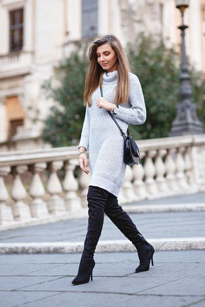 Sweater Dress Grey Turtleneck Pencil Dress
