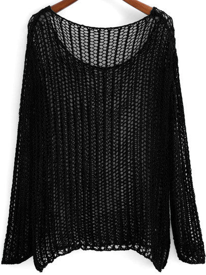 Pullover Sweater Black Crochet Knit Loose Fit