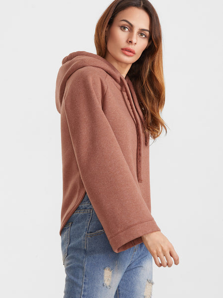 Trendy Hooded Oversize Sleeve Sweater Burnt Orange