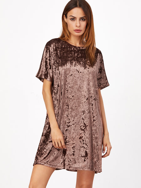 Velvet Brown Shift Dress