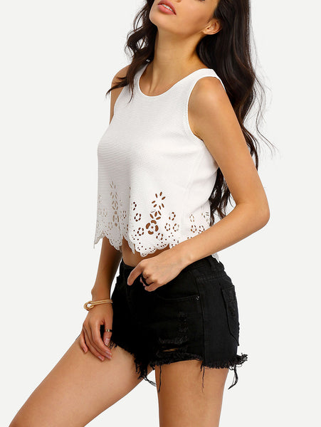 Sexy White Crop Top Tank with Laser Cut and Scalloped Design