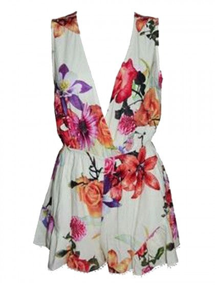 White Floral Playsuit Short Sleeves