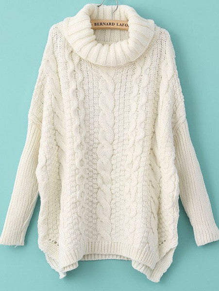 Winter Fashion White Long Sleeve Turtleneck Chunky Cable Knit Sweater