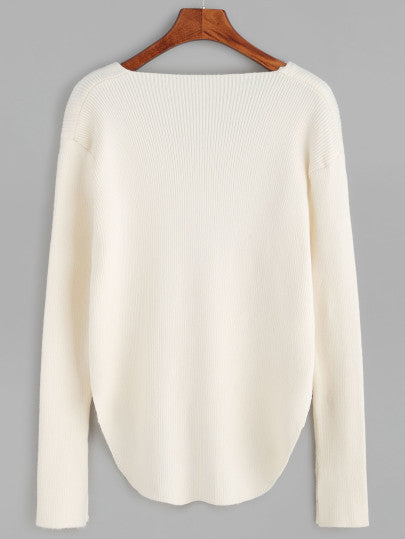 White V Neck High Low Hem Sweater
