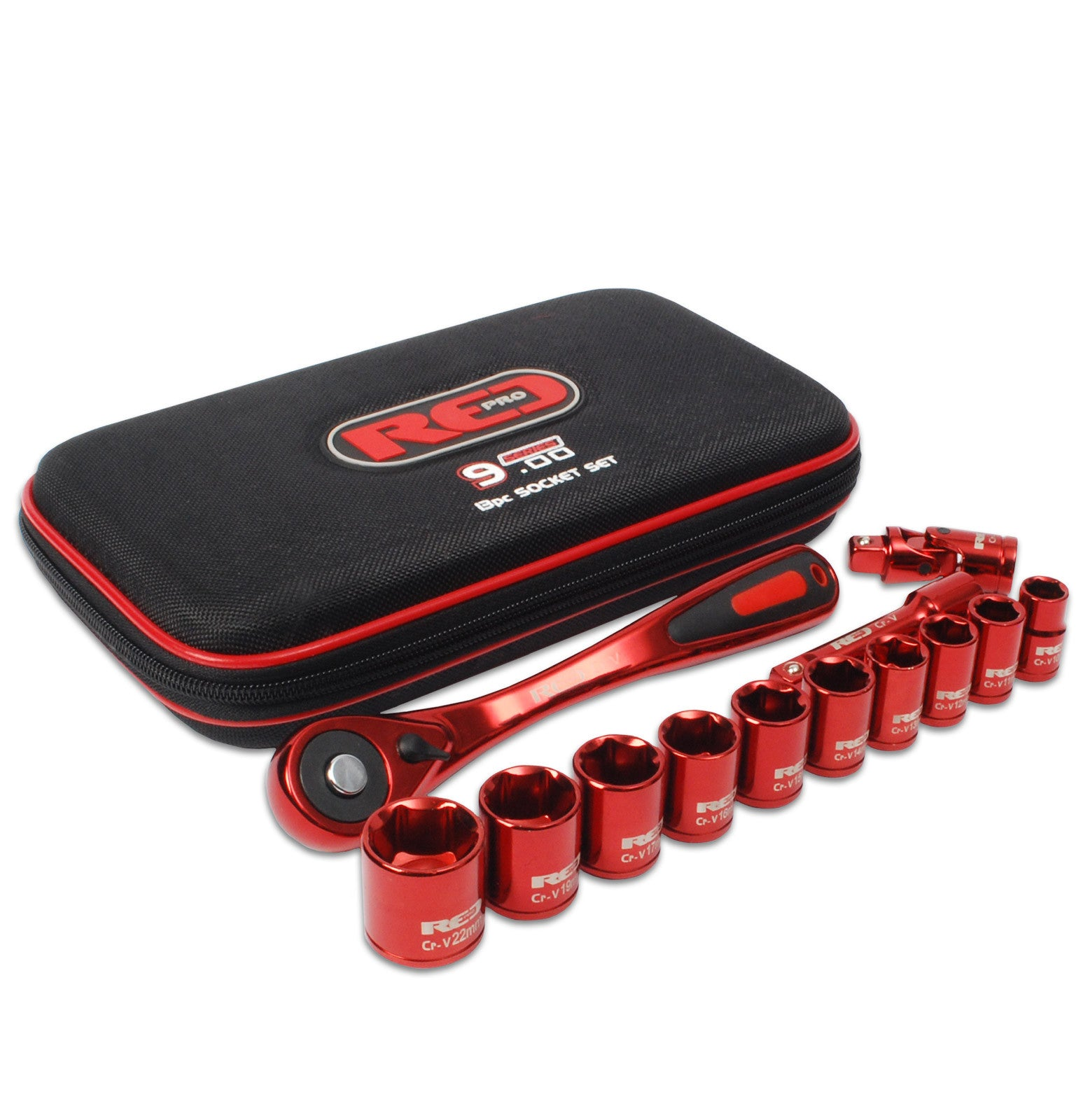 "Red Pro Tools 13pc Socket Set 3/"" Drive Anodised Soft Case"