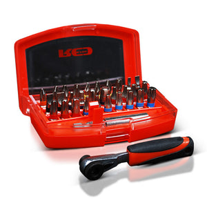 Red Pro Tools 32pc Multi-Bit Screwdriver Set Little Ratchet