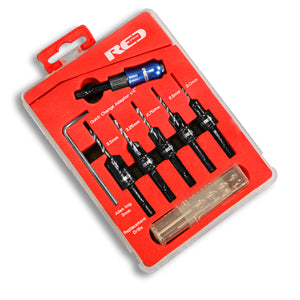 Red Pro Countersink Set with Adjustable Drills - 12 Piece Set