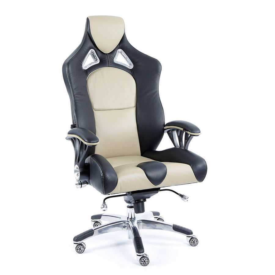 ProMech Racing Speed-998 Office Racing Chair Champagne Upholstered in Italian Leather Executive Office Chair Ergonomics E-Sports