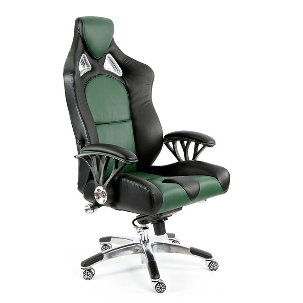 ProMech Racing Speed-998 Office Racing Chair British Racing Green Upholstered in Full Italian Leather Ergonomics E-Sports