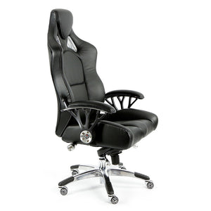 ProMech Racing Speed-998 Office Racing Chair Upholstered in Onyx Black Full Italian Leather Bucket Seat E-Sports