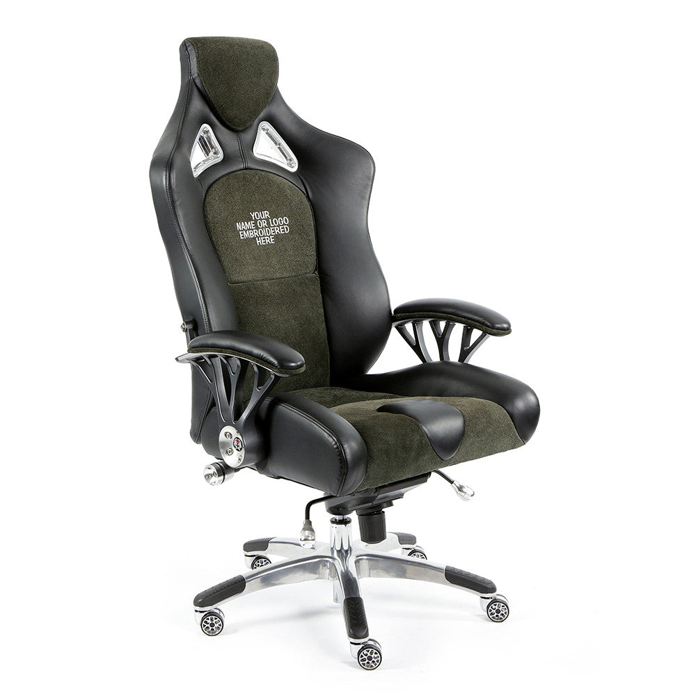 Embroidered High Back Black Leather Contemporary Executive Swivel Office  Chair; (UPC: 847254049962)