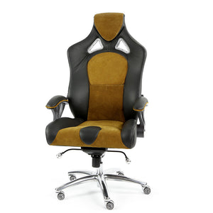 ProMech Speed-998 Office Racing Chair Black & Mustard Alcantara Suede Italian Leather E-Sports Ergonomics
