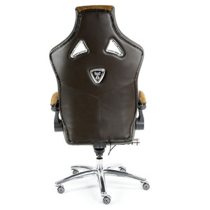 ProMech Racing Speed-998 Office Racing Chair Brown Cowhide Upholstered Calf Skin Leather Statement Piece