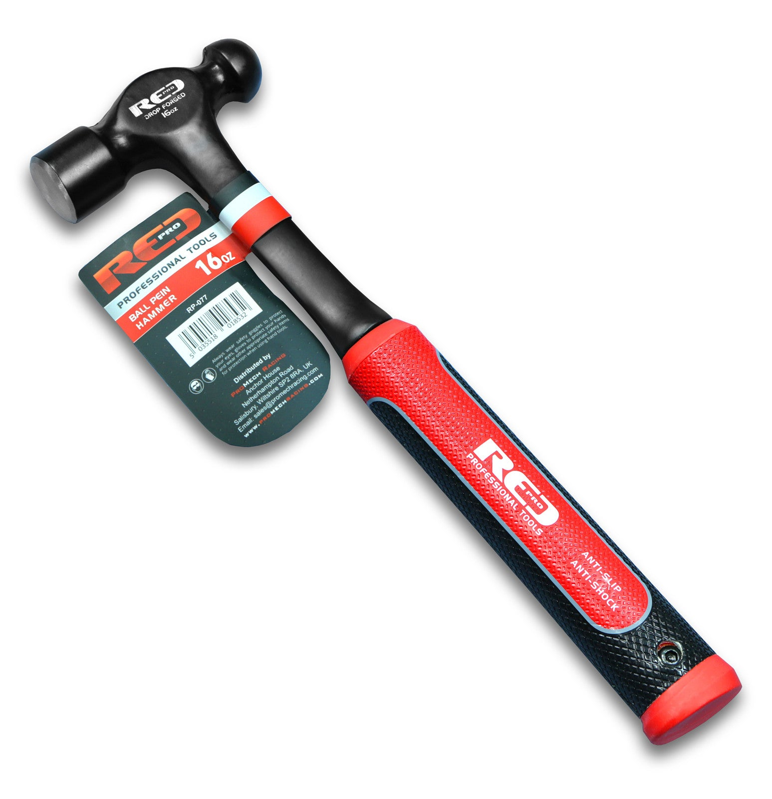 Red Pro Tools Ball Pein Hammer 16oz