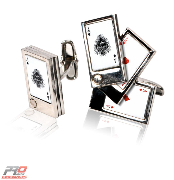 "ProMech Racing ""Aces Playing Cards"" Cufflinks Racing Sound Box Set"
