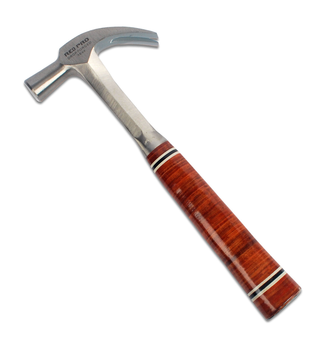 Red Pro Tools Leather Grip Claw Hammer 16oz