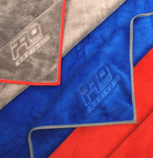 ProMech Racing Microfibre Weft Polishing Cloth Red Blue Grey