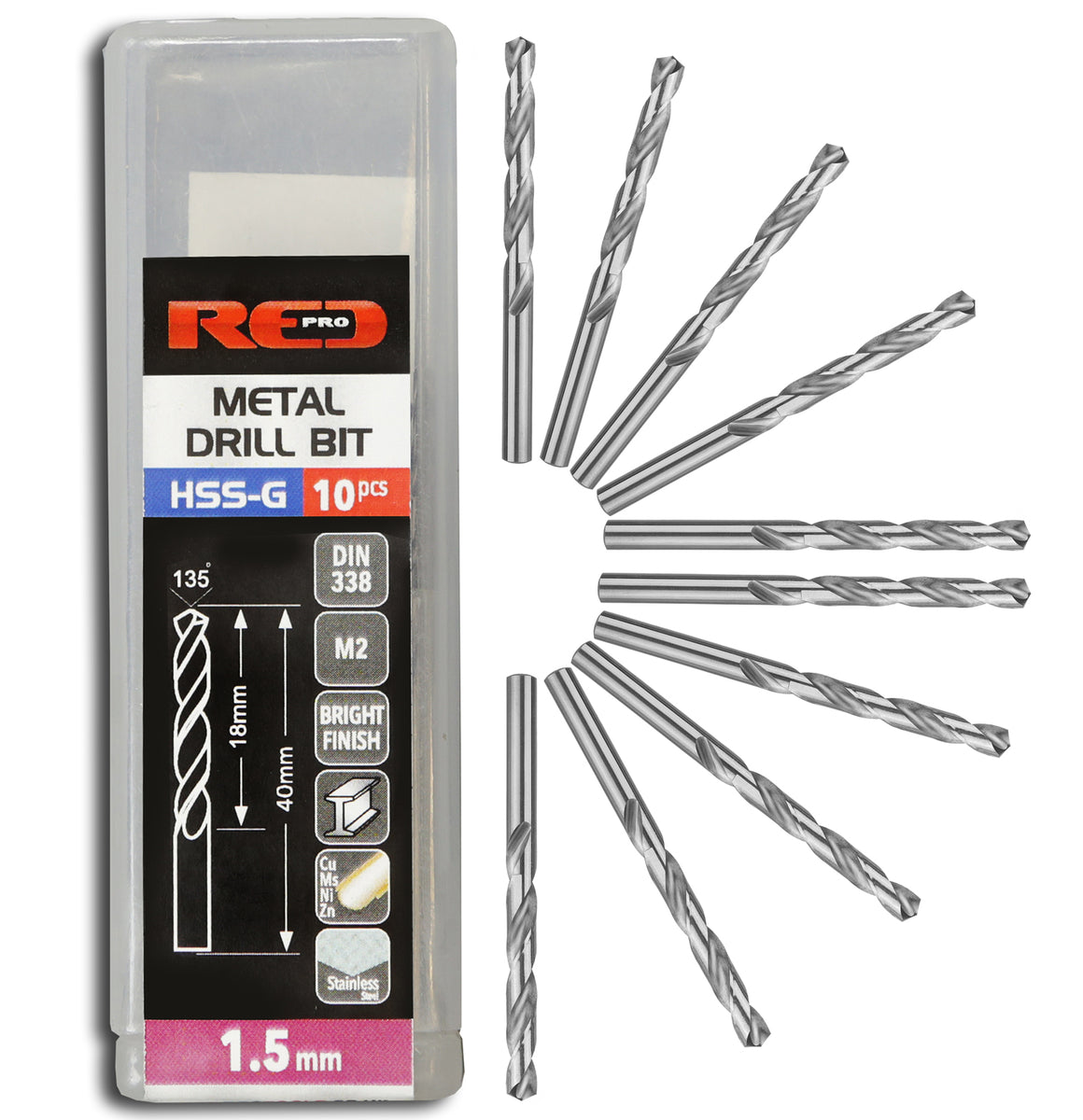 Red Pro Tools Metal Drill Bit HSS-G 1.5mm - 10 Pieces