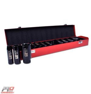"Red Pro Tools 13pc Deep Impact Socket Set 1/2"" Square Drive"