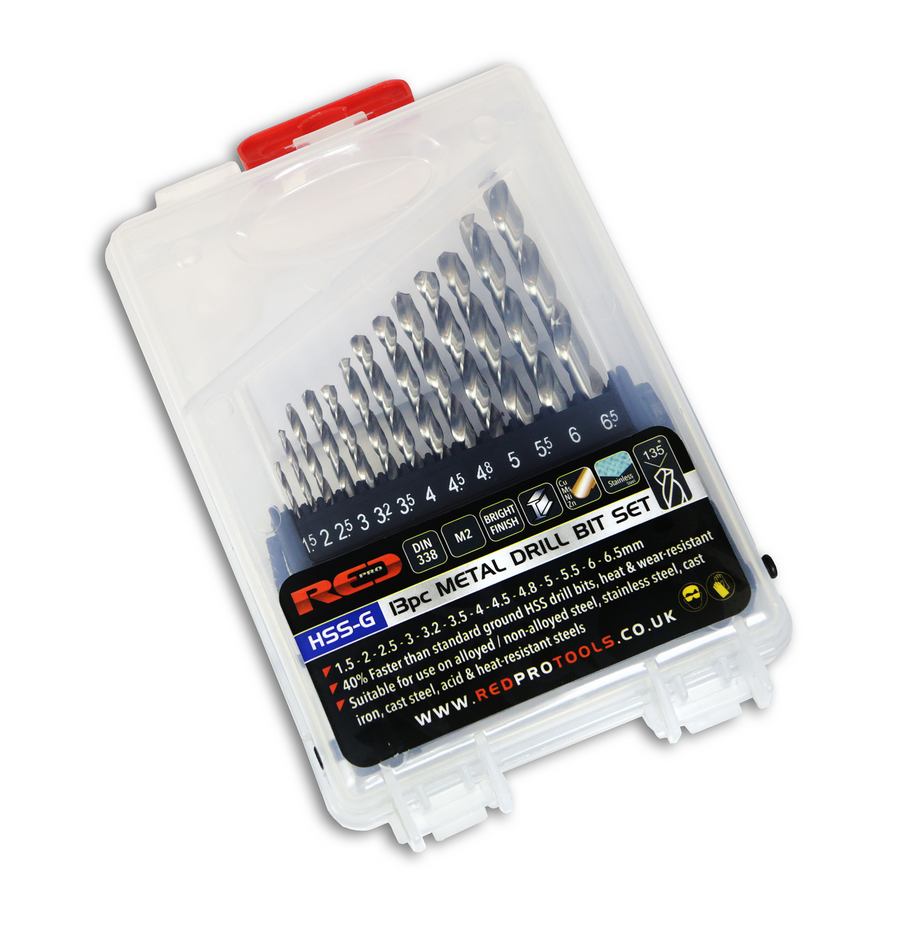 Red Pro Metal HSS-G Drill Bit Set - 13 Pieces