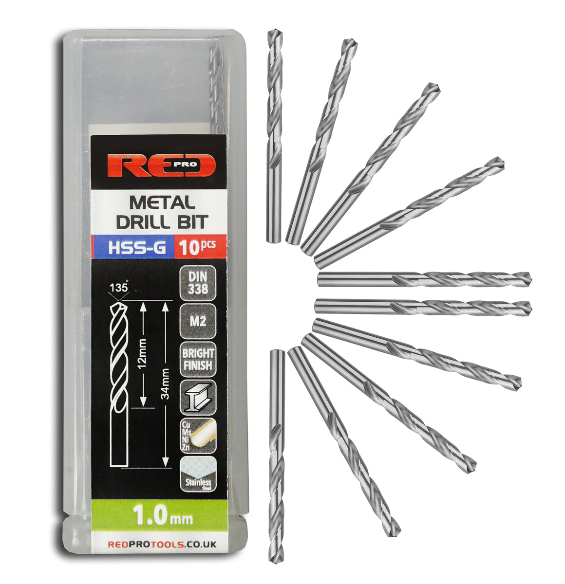 Red Pro Tools Metal Drill Bit HSS-G 1.0mm - 10 Pieces