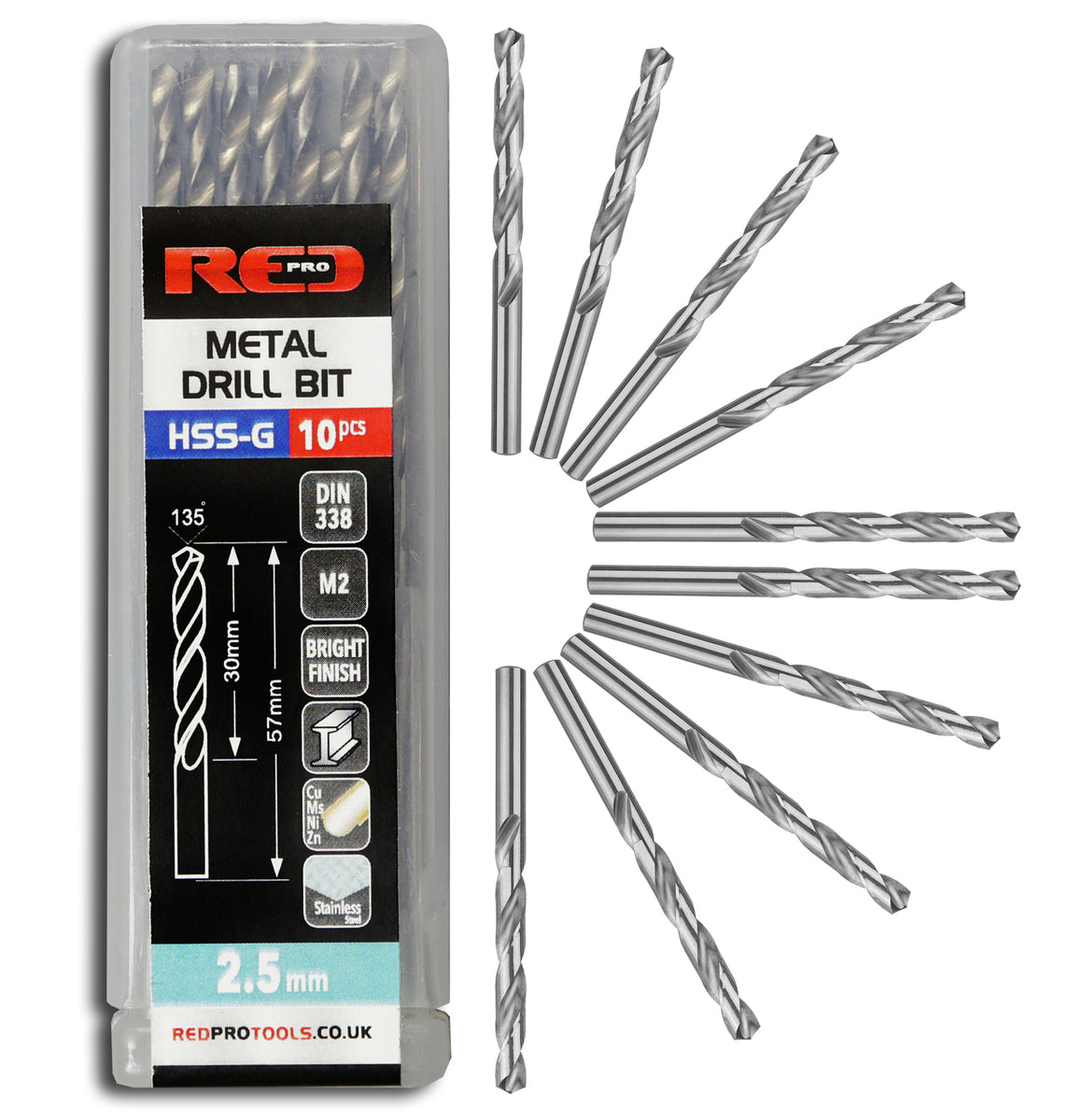Red Pro Tools Metal Drill Bit HSS-G 2.5mm - 10 Pieces